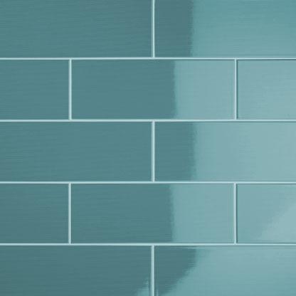Johnson Vvd8a Vivid Teal Gloss Brick Ceramic Wall Tile 400x150mm