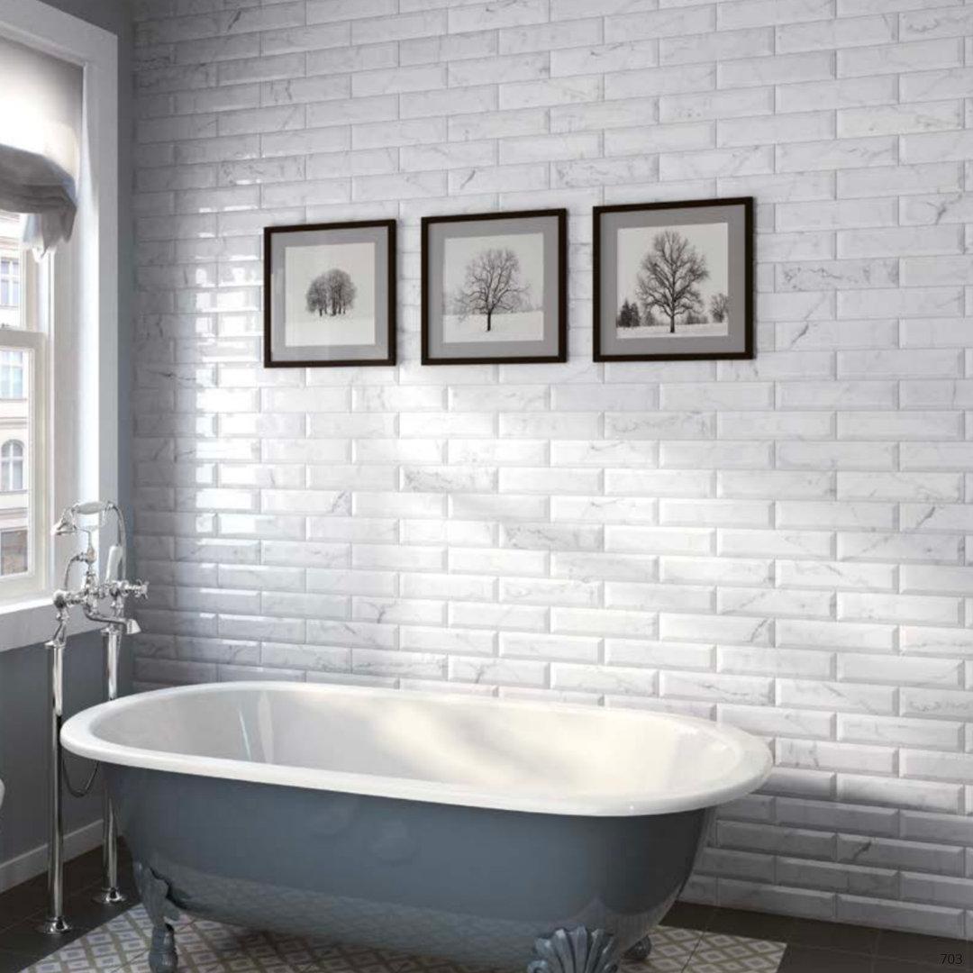 Carrara Series Marble Effect Bevel Gloss Ceramic Wall